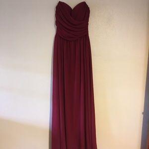 Wine red floor length strapless bridesmaid dress